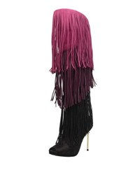 Carrano Carlie Fringe Knee High Leather Boots Black