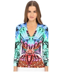Just Cavalli Leo Butterfly Lycra Long Sleeve Tee White Women's Blouse