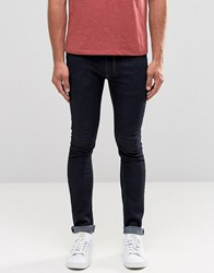 Religion Skinny Fit Hero Jeans In Dark Blue Dark Blue White