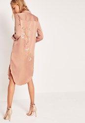 Missguided Embroidery Back Shirt Dress Nude Beige