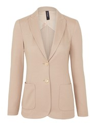 Marc Cain Fitted Wool Jersey Blazer Nude