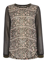 Maison Scotch Long Sleeve Sheer Printed Top With Rib Details Black