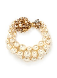 Miriam Haskell Three Strand Baroque Glass Pearl Crystal Cluster Bracelet White