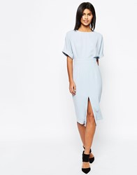 Asos Wiggle Dress With Split Front Blue