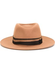 Maison Michel Fedora Hat Brown