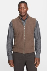 Canali Wool And Cashmere Blend Reversible Sweater Vest Brown
