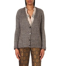 Etro V Neck Fine Knit Cashmere Blend Cardigan Charcoal