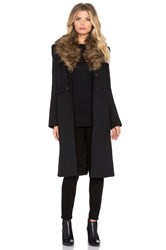 Smythe Faux Fur Collar Tailored Coat Black