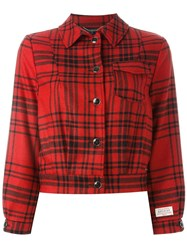Woolrich Checked Cropped Jacket Red