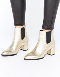 Park Lane Interest Material Heeled Chelsea Boots Gold