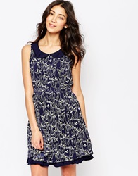Yumi Owl Print Dress Navy