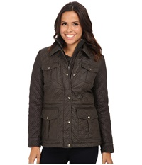 Michael Michael Kors Quilted Field Jacket W Bib Bark Graphite Women's Coat Pewter
