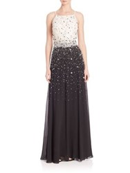 Aidan Mattox Beaded Aline Ball Gown Ivory Black