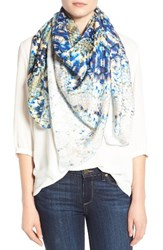 Nordstrom Women's Washed Reptile Print Square Silk Scarf