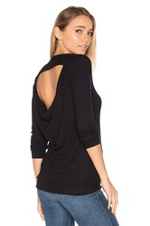 Chaser Long Sleeve Drape Back Raglan Thermal Black