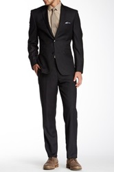 Vince Camuto Dark Navy Blue Textured Solid Two Button Notch Lapel Wool Suit