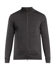 Ermenegildo Zegna Zip Through High Neck Wool Sweater Dark Grey