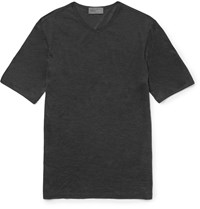 Kilgour Slim Fit Silk V Neck T Shirt Gray