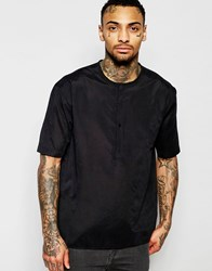Asos Collarless Shirt In Black Faux Suede In Regular Fit Black