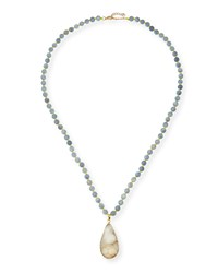 Agate Bead Necklace With Druzy Pendant Gray Black Panacea
