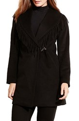 Lauren Ralph Lauren Plus Size Women's Fringe Trim Wrap Coat Black