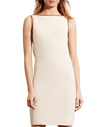 Ralph Lauren Faux Leather Trim Sheath Dress Natural Sand