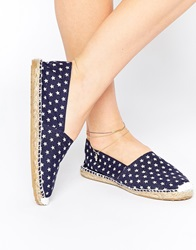 Oas Blue Star Espadrille Slip On Flat Shoes Navy
