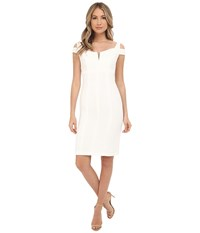 Adrianna Papell Solid Crepe Empire Dress Ivory Women's Dress White