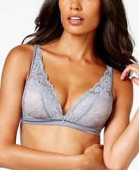 Maidenform Fit To Flirt Plunge Wireless All Over Lace Bra 7962 Grey Slate Gloss