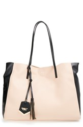 Poverty Flats By Rian 'Colorful' Colorblock Faux Leather Shopper Pink Blush Black
