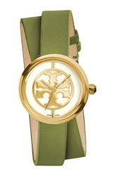 Tory Burch 'Reva' Logo Dial Double Wrap Leather Strap Watch 28Mm Green Gold