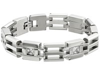 Stacy Adams Stainless Cut Out Link Bracelet With Cubic Zirconia Silver Bracelet