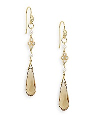 Jude Frances 3Mm White Round Freshwater Pearl Citrine And 18K Yellow Gold Drop Earrings Gold Yellow