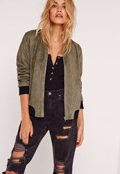 Missguided Contrast Rib Faux Suede Bomber Jacket Khaki Green