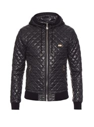 Dolce And Gabbana Quilted Hooded Bomber Jacket Navy