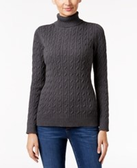 Charter Club Cable Knit Turtleneck Sweater Only At Macy's Charcoal Heather