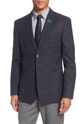 Ted Baker Men's London 'Tightlines' Trim Fit Windowpane Wool And Cotton Sport Coat