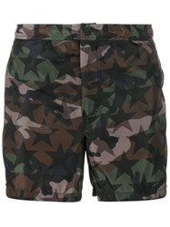 Valentino Camouflage And Star Print Swim Shorts Green