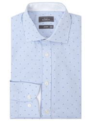 John Lewis Luxury Gingham Dot Jacquard Tailored Fit Shirt Blue