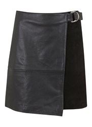 Mint Velvet Black Leather And Suede Wrap Skirt