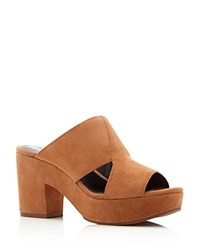 Rebecca Minkoff Jordan High Heel Platform Slide Sandals Butterscotch