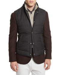 Brunello Cucinelli Rustic Quilted Wool Vest Anthracite