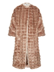 Rachel Comey Stacked Faux Fur Collarless Coat