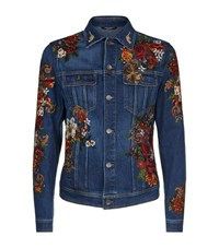 Dolce And Gabbana Embroidered Rose Denim Jacket Male Blue