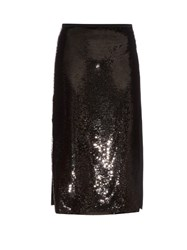 Rochas High Waisted Sequin Midi Skirt