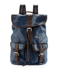 Robert Graham Paisley Faux Leather Backpack Blue Brown