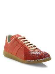 Maison Martin Margiela Replica Paint Splatter Low Top Sneakers Red