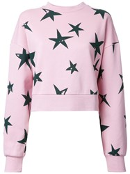 Etre Cecile 'Stars' Oversized Cropped Sweatshirt Pink Purple