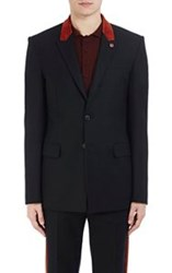Givenchy Men's Flannel Two Button Sportcoat Black