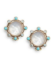 Stephen Dweck Mother Of Pearl Doublet Blue Topaz And Turquoise Clip On Button Earrings